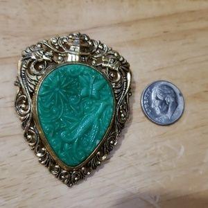 Vintage Carved Jade Color Goldtone Pendant